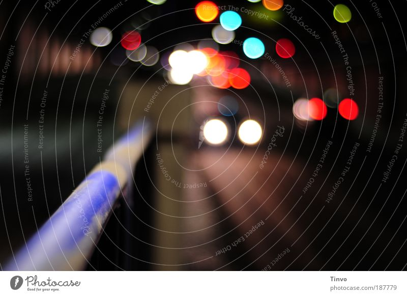 tunnel vision Tunnel Traffic infrastructure Passenger traffic Rush hour Road traffic Motoring Street Traffic light Illuminate Multicoloured Handrail