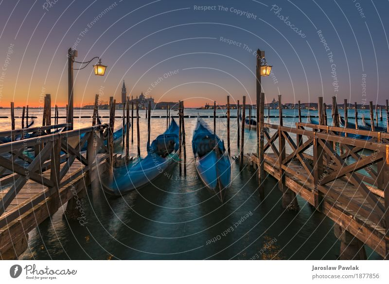 Long exposure Gondolas in Venice Beautiful Vacation & Travel Tourism Ocean Art Sky Church Building Architecture Street Watercraft Old Historic Retro Blue Italy