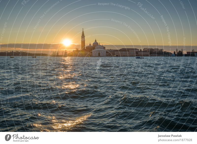 Venetian Lagoon at sunrise. Vacation & Travel Tourism Summer Ocean Island Landscape Town Church Harbour Transport Watercraft Large Historic Tradition Italy