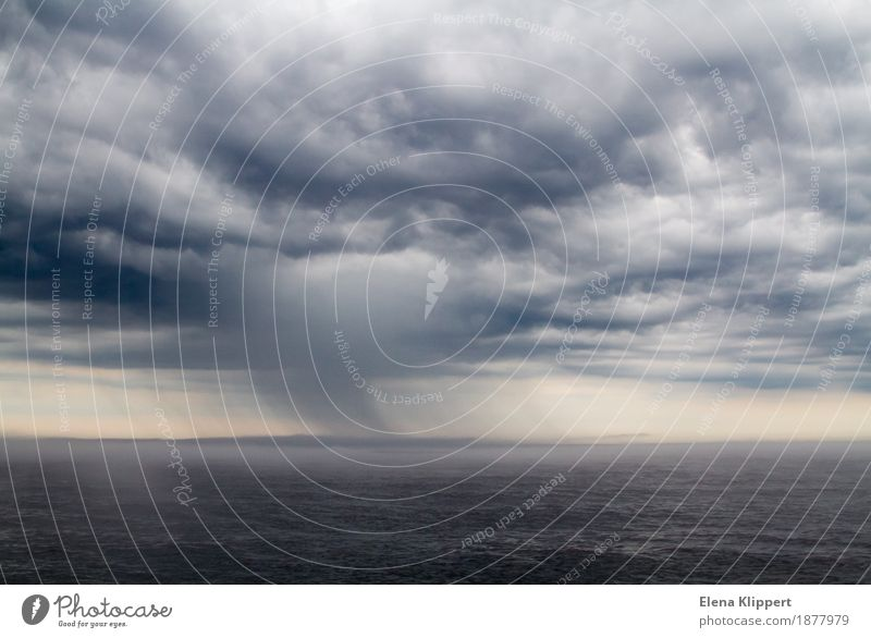 The storm on Lake Ladoga in Russia Environment Nature Landscape Water Sky Clouds Storm clouds Horizon Spring Summer Autumn Weather Bad weather Wind Gale Rain