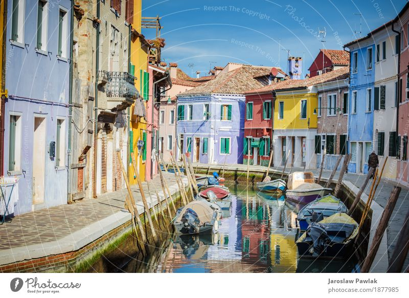 Venice and Burano in the afternoon sun. Sky Vacation & Travel Old Blue Summer Town Colour Beautiful Sun Ocean Red House (Residential Structure) Architecture