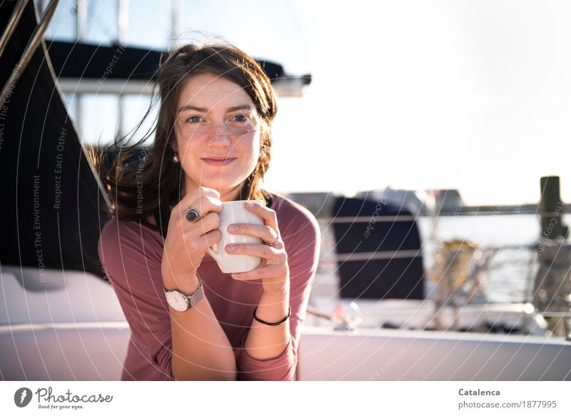 morning coffee To have a coffee Coffee Cup Relaxation Vacation & Travel Aquatics Sailing Feminine Young woman Youth (Young adults) 1 Human being 18 - 30 years