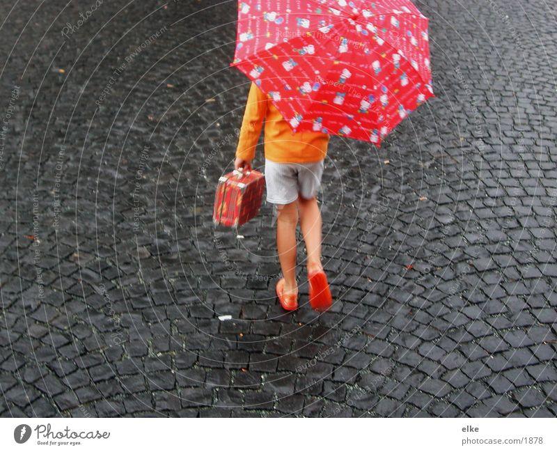 Human being Child Movement Stone Rain Going Asphalt Umbrella