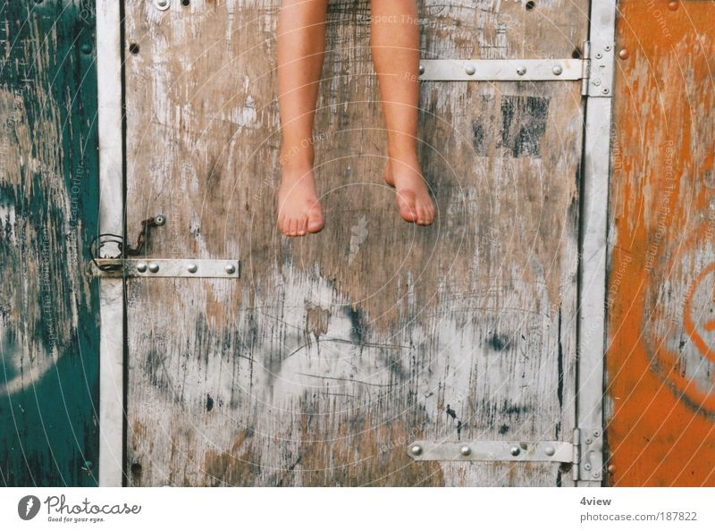 Let your feet dangle Child Feet 1 Human being 3 - 8 years Infancy Wall (barrier) Wall (building) Comfortable Relaxation Colour photo Exterior shot