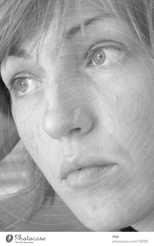 portre Woman Face Black & white photo cut