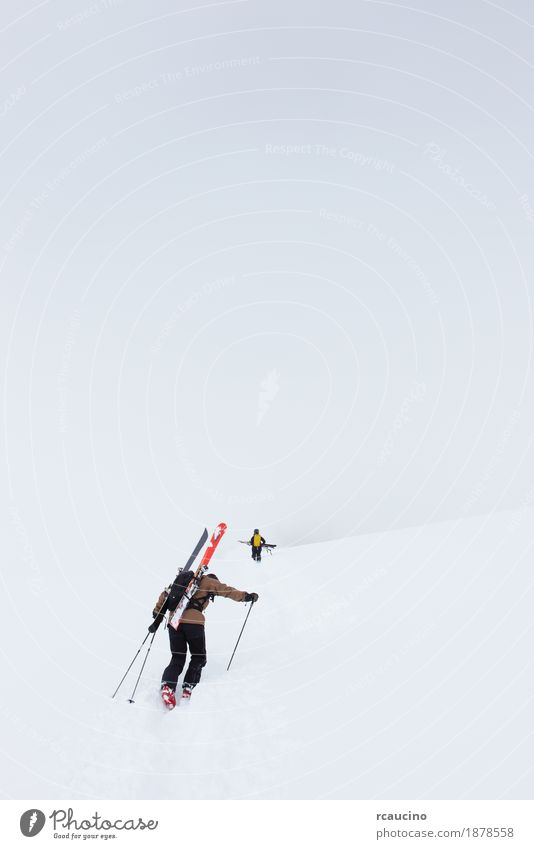 Backcountry skiers walking up to the top of the mountain Man White Winter Mountain Adults Snow Sports Fog Europe Adventure Mountaineering Wilderness Vertical