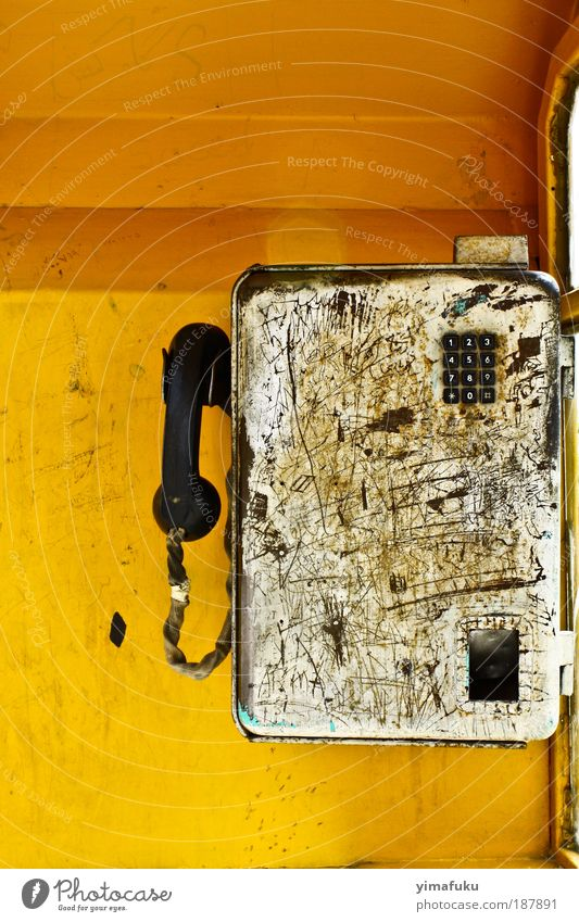 Public Phone Telephone Metal Aggression Old Authentic Trashy Yellow Silver Chaos Numbers Iran Colour photo