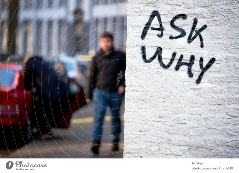 Questions cost nothing Human being Young man Youth (Young adults) Woman Adults 2 Town Populated Wall (barrier) Wall (building) Transport Motoring Pedestrian