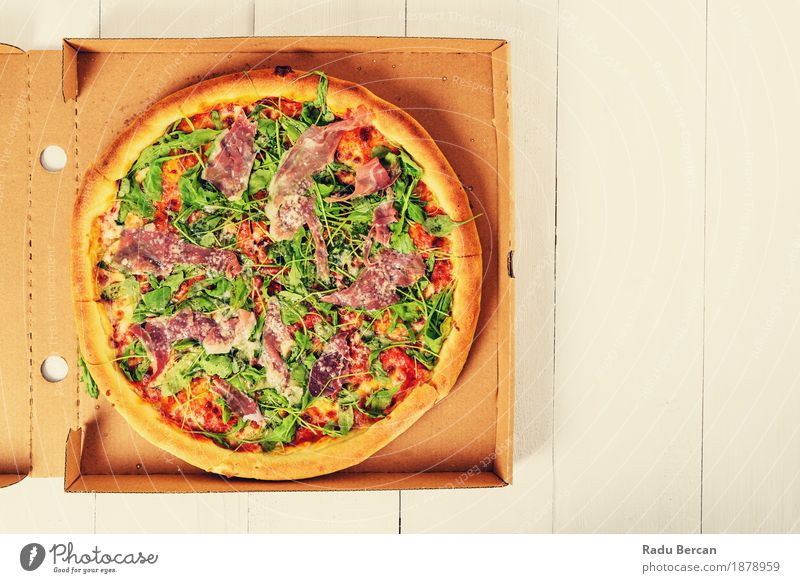 Italian Pizza With Rucola, Prosciutto Ham And Parmesan Cheese Green White Eating Wood Food Brown Nutrition Retro Table Round Delicious Vegetable Restaurant Meat