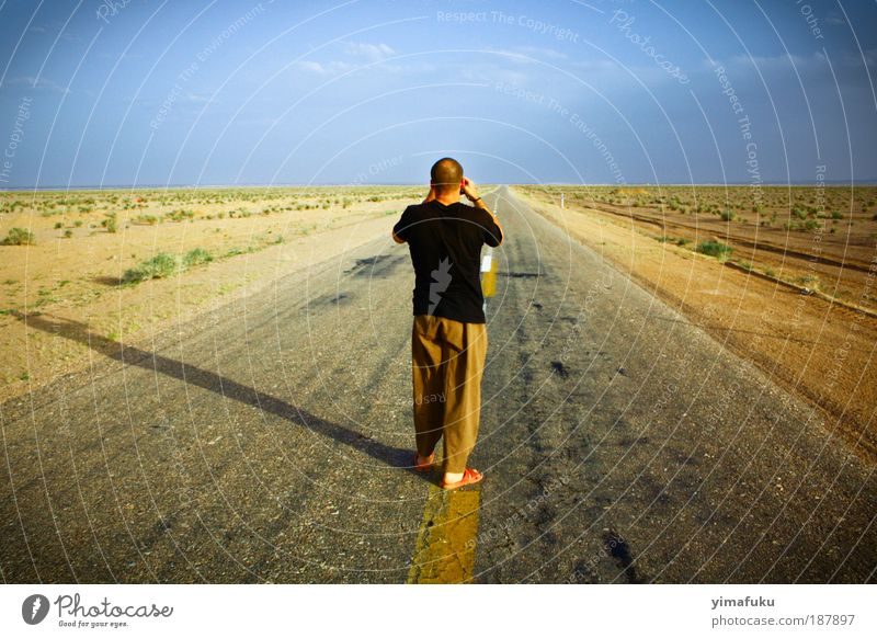 The End of the World Trip Sand Earth Horizon Summer Warmth Drought Desert Street Observe Stand Free Infinity Blue Yellow Serene Curiosity Dream