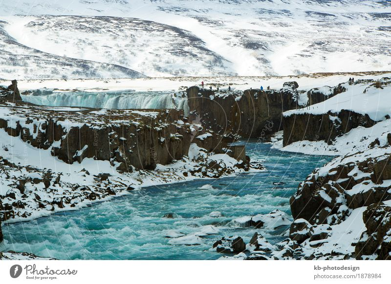 Waterfall Godafoss in wintertime, Iceland Vacation & Travel Tourism Trip Adventure Far-off places Sightseeing Winter Winter vacation Nature Express train frozen