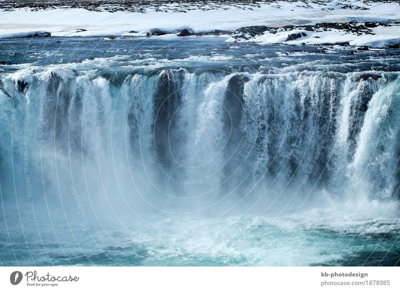 Closeup of frozen waterfall Godafoss in Iceland Vacation & Travel Tourism Adventure Far-off places Sightseeing Nature River Waterfall icy Europe big huge gods