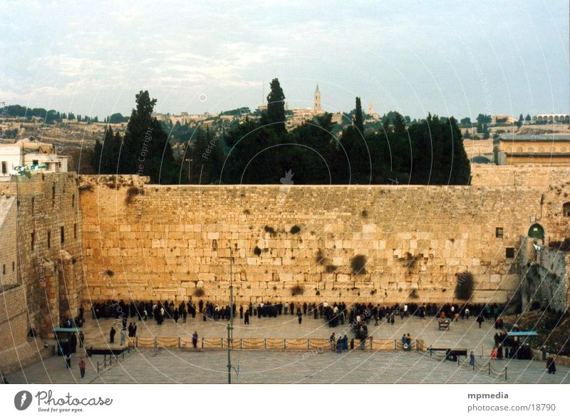 Wailing Wall in the evening The Wailing wall Israel West Jerusalem Israeli Prayer Desire Religion and faith Success Temple Mount Judaism Exterior shot