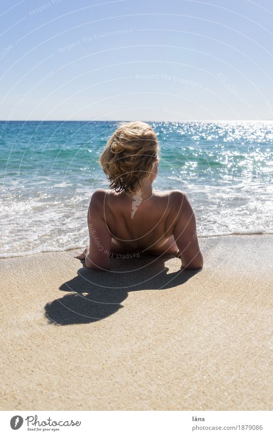 Human being Woman Sky Vacation & Travel Summer Water Sun Ocean Relaxation Far-off places Beach Adults Life Coast Feminine Freedom
