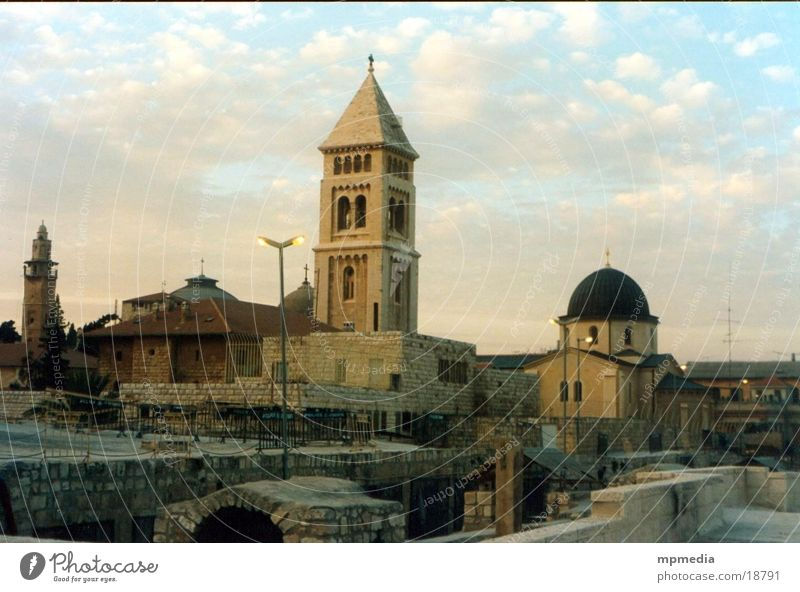 Church Israel Mosque Church spire West Jerusalem Asia East Jerusalem Near and Middle East