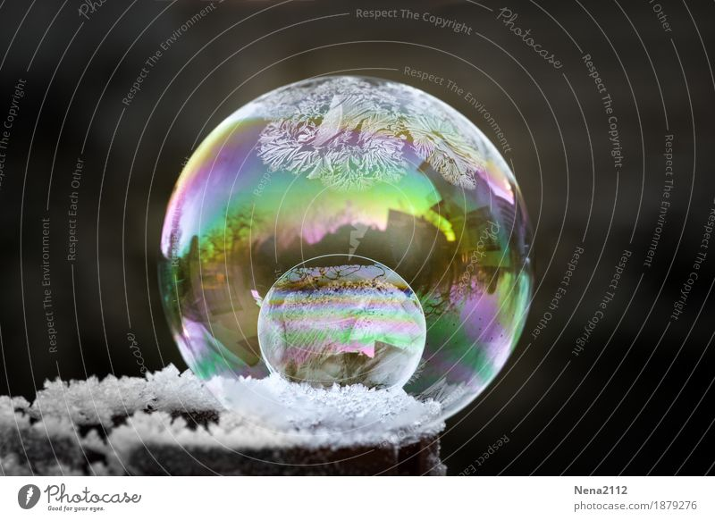 Nature White Winter Cold Snow Art Weather Ice Climate Round Frost Sphere Soap bubble Spherical Prismatic colors
