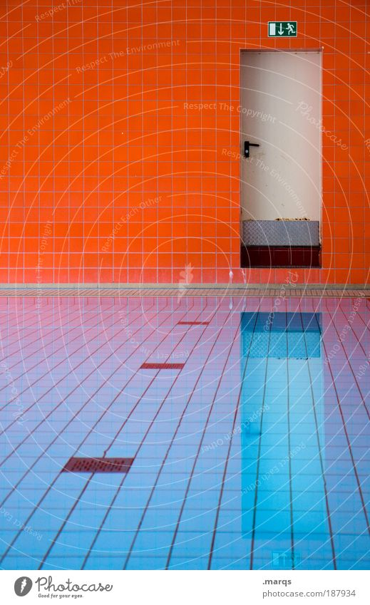 Water Blue Colour Cold Wall (building) Style Wall (barrier) Warmth Orange Architecture Door Design Wet Crazy Sports Esthetic