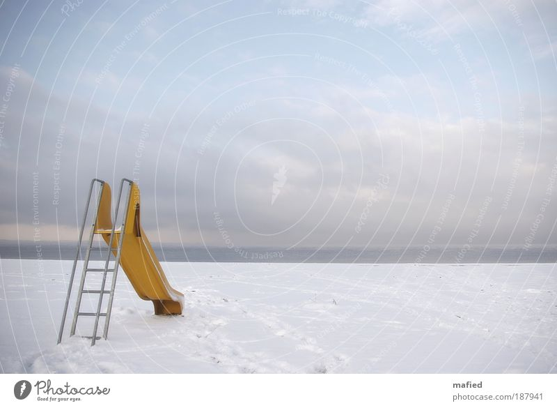 Happy New Year Playing Children's game Summer vacation Winter Snow Landscape Sand Water Sky Ice Frost Coast Beach Baltic Sea Blue Yellow Gray White Joy Longing