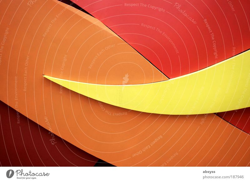 static waves Architecture Wall (barrier) Wall (building) Facade Dirty Modern Yellow Red Esthetic Movement Advancement Art Change Undulation Curve Decoration