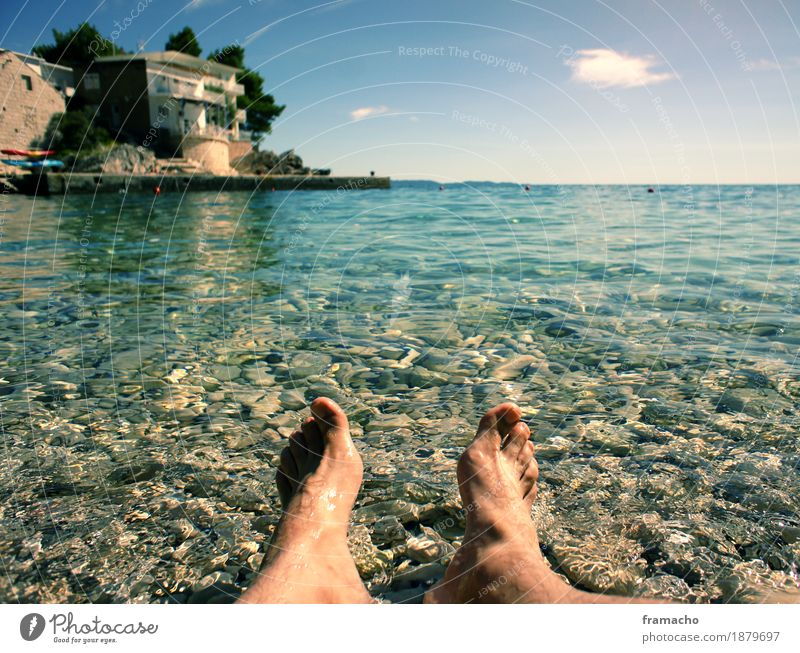Human being Sky Vacation & Travel Blue Summer Water Sun Ocean Relaxation Far-off places Beach Freedom Swimming & Bathing Feet Tourism Contentment