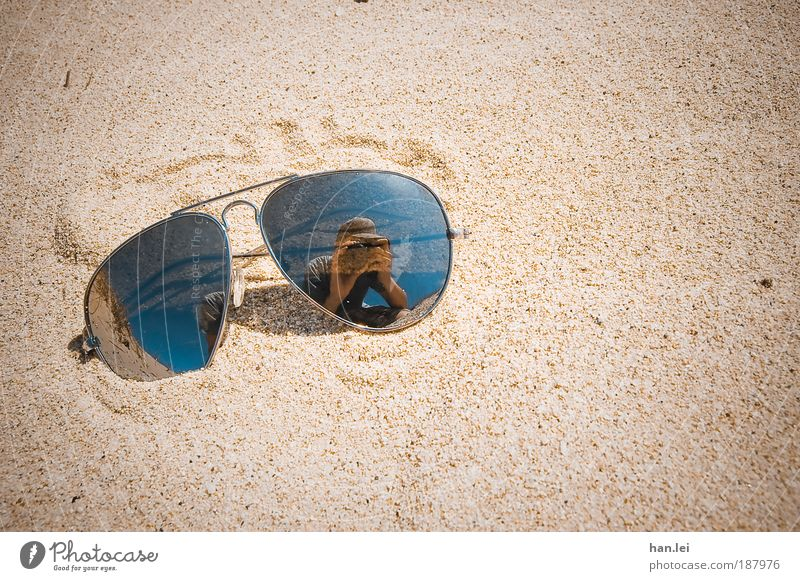 sunglasses Beach Ocean Human being Man Adults Sand Beautiful weather Eyeglasses Sunglasses Hot Vignetting Summer mood Take a photo Porno glasses Self portrait