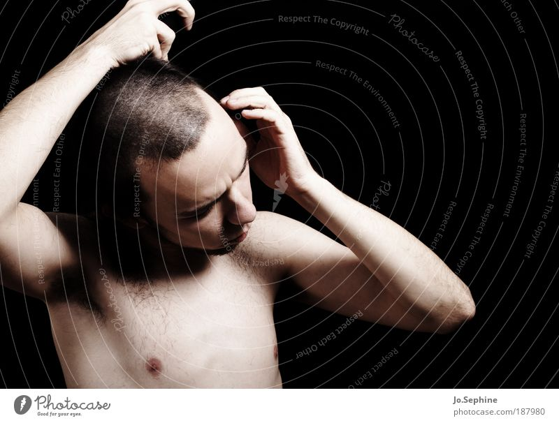 Human being Youth (Young adults) Adults Naked Hair and hairstyles Masculine Change 18 - 30 years Meditative Young man Personal hygiene Short-haired Shave Man