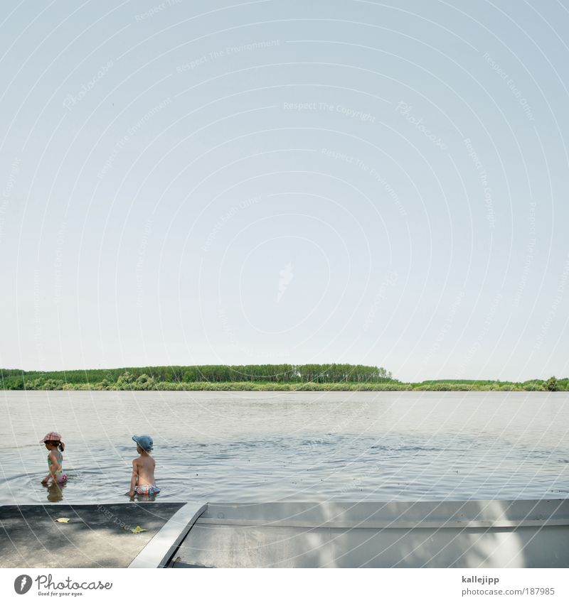 Human being Child Nature Water Girl Tree Blue Vacation & Travel Life Boy (child) Playing Lake Landscape Watercraft Coast Horizon