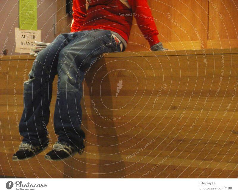 Man Wood Footwear Legs Wait Sit Jeans Boredom Counter Reception Wood flour