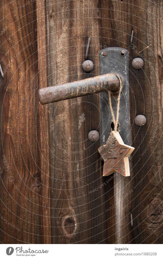 Christmas of course Christmas & Advent Hut Door Door handle Wood Metal Sign Star (Symbol) Hang Sharp-edged Simple Natural Dry Brown Moody Belief Nature
