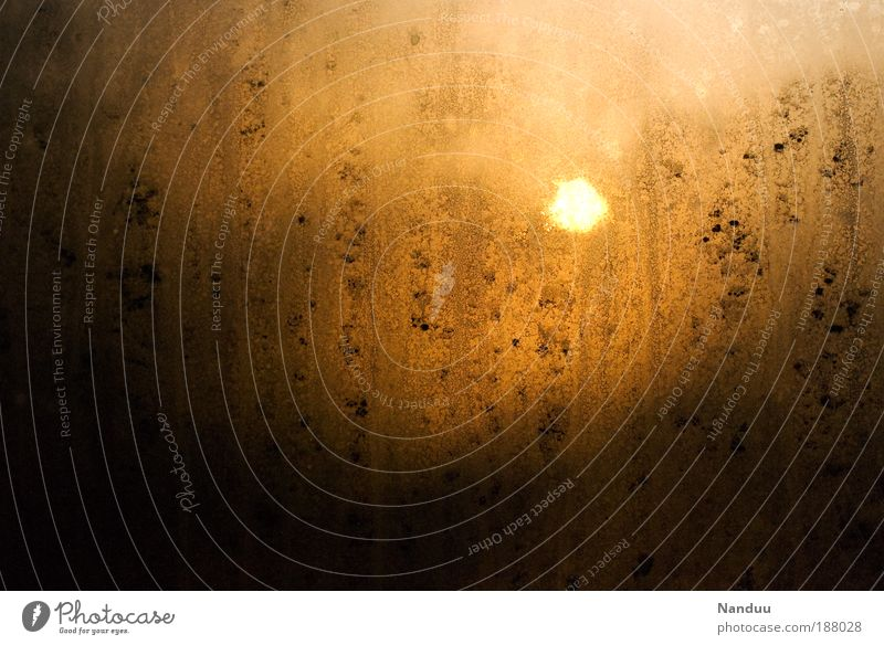 A new day. Sun Beautiful weather Sunrise Window Slice Misted up Dirty Morning Calm Chance New start Structures and shapes Condensation Gold Abstract