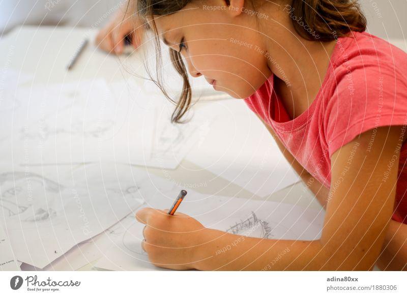 Draw Leisure and hobbies Parenting Education School Study Schoolchild Girl Paper Pen Success Patient Calm Endurance Interest Experience Joy Society Idea