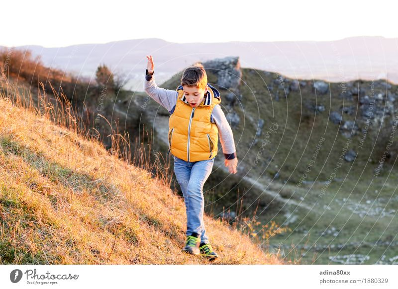 autumn sun Leisure and hobbies Playing Climbing Mountaineering Boy (child) Nature Landscape Hill Movement Going Walking Hiking Joy Happy Happiness
