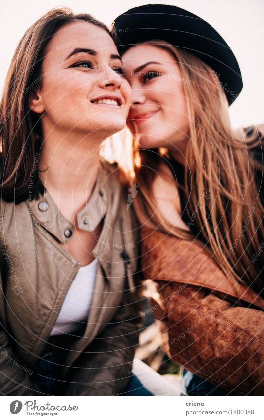 Happy best friend teenager girls embracing outdoors Lifestyle Style Joy Freedom Young woman Youth (Young adults) Woman Adults Sister 13 - 18 years 18 - 30 years