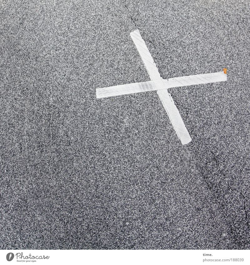 Omens of Everyday Life (I) Road traffic Street Lanes & trails Sign Road sign Crucifix White Colour Asphalt Dye Painted Warning label Clue pavement