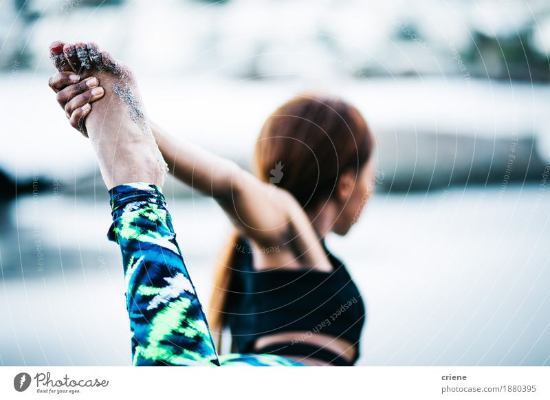 Close-up of women doing yoga exercise outdoor Lifestyle Personal hygiene Athletic Fitness Well-being Relaxation Leisure and hobbies Beach Ocean Sports Yoga