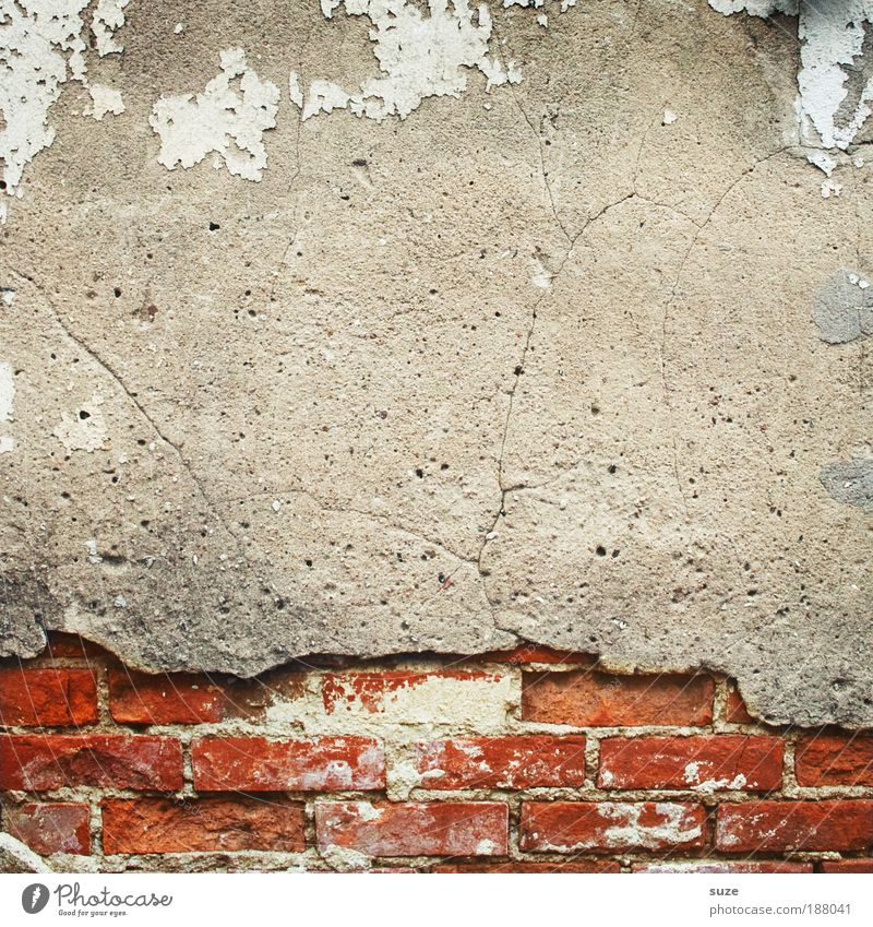 Old Red House (Residential Structure) Wall (building) Sadness Wall (barrier) Gray Art Background picture Facade Dirty Construction site Authentic Concrete
