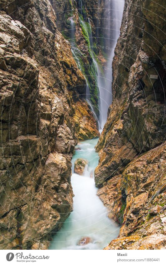 Höllental Gorge Environment Nature Water Alps Canyon River Waterfall Fluid Multicoloured Colour photo Exterior shot Deserted Day Light Silhouette Long exposure