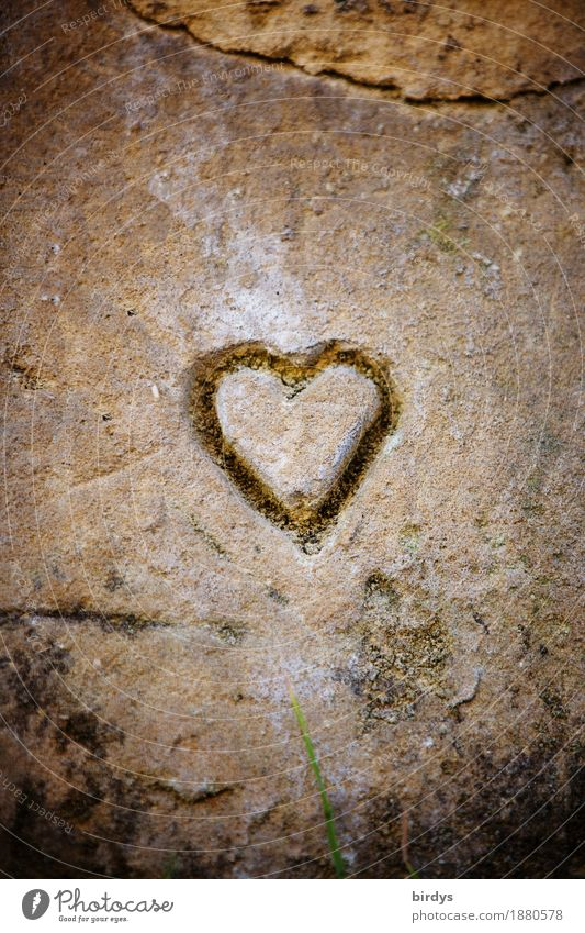 Heart of stone Wall (barrier) Wall (building) Stone Sign Esthetic Exceptional Simple Friendliness Positive Brown Yellow Gray Joie de vivre (Vitality) Love