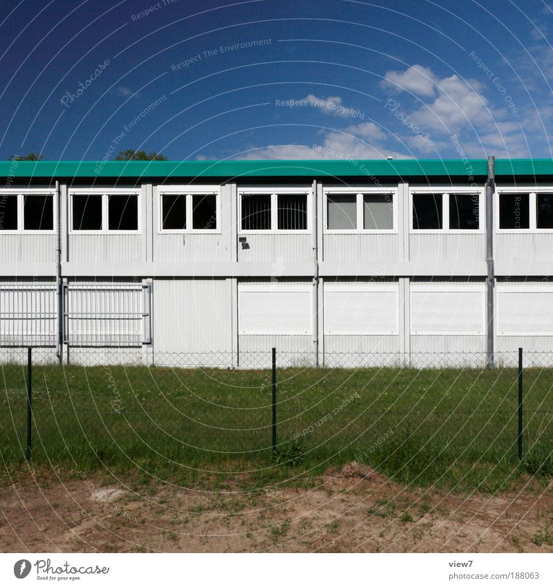Old Green House (Residential Structure) Far-off places Dark Wall (building) Window Wall (barrier) Metal Line Facade Arrangement Large Modern Stripe
