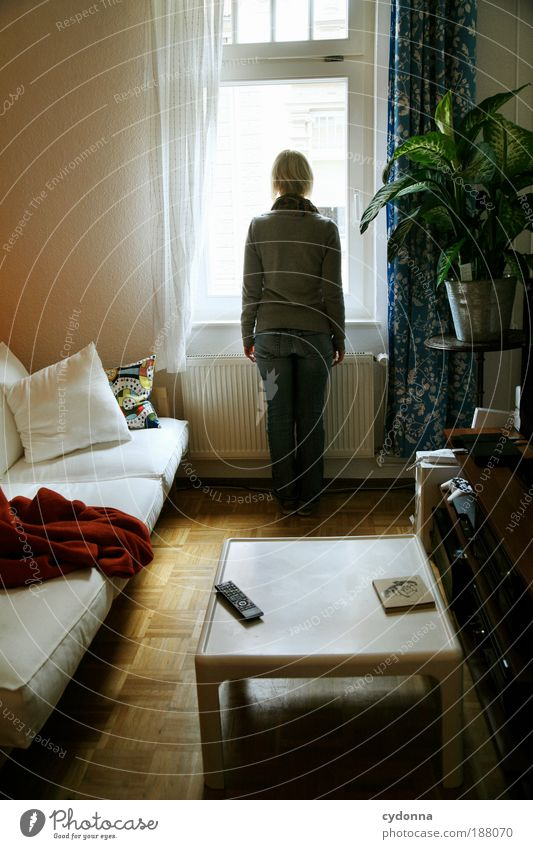 Woman Youth (Young adults) Calm Loneliness Life Window Dream Furniture Room Perspective Adults Flat (apartment) Human being Time Table Lifestyle