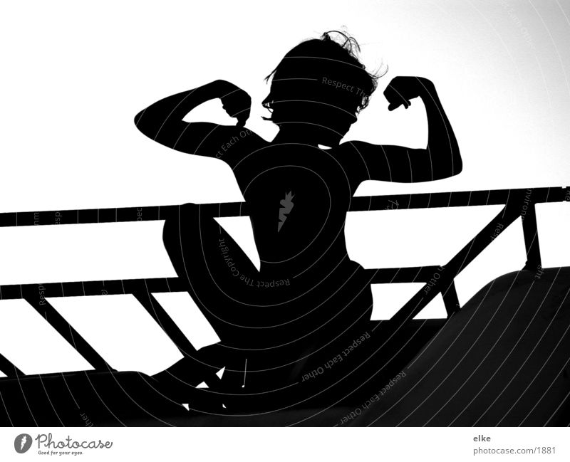 strong and big Child Girl Human being Sit Black & white photo Silhouette Body Braggart Bright background Childs upper body