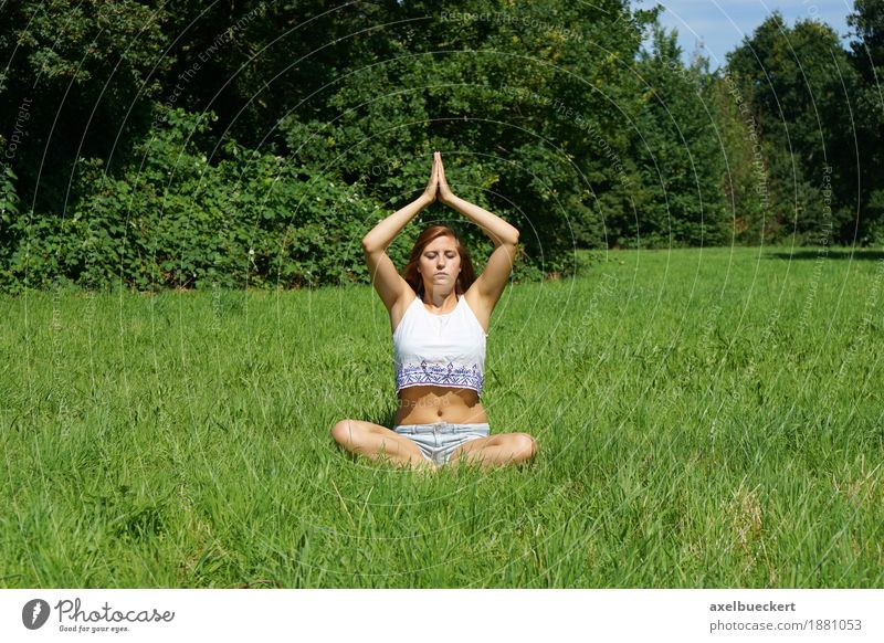 Yoga on the meadow Lifestyle Wellness Harmonious Well-being Relaxation Calm Meditation Leisure and hobbies Summer Sports Human being Feminine Young woman