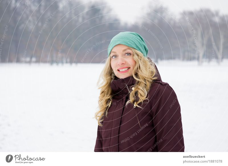 blonde woman in a snowy landscape Lifestyle Joy Leisure and hobbies Vacation & Travel Winter Snow Winter vacation Human being Feminine Young woman