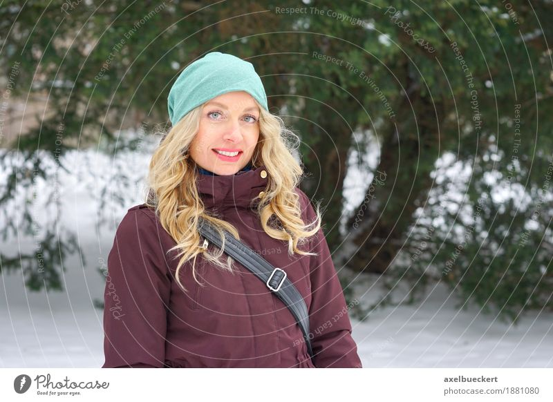 blonde woman in winter landscape Lifestyle Style Leisure and hobbies Winter Snow Human being Feminine Woman Adults 1 30 - 45 years Nature Landscape Tree Park
