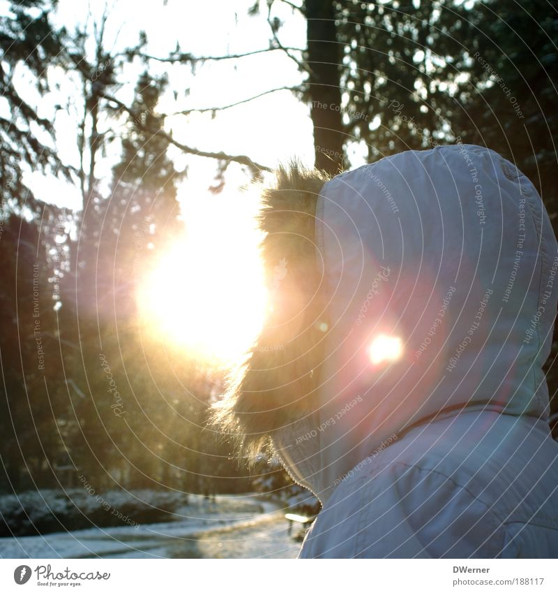 a real sun child! Lifestyle Style Human being Feminine Woman Adults Environment Nature Air Sunrise Sunset Sunlight Climate change Beautiful weather Ice Frost