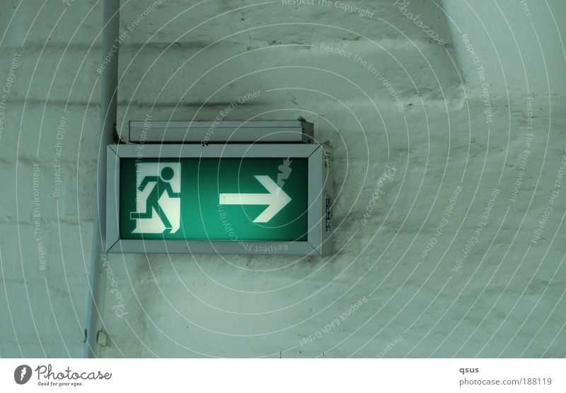 escape route Cable Sign Signs and labeling Walking Illuminate Green Rescue Escape Escape route Arrow Right Running Emergency exit Way out Subdued colour