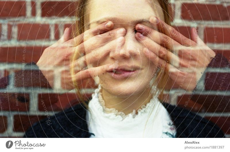 Double exposure portrait of a young woman with her fingers in front of her eyes in half transparency Style pretty Face Young woman Youth (Young adults) Hand