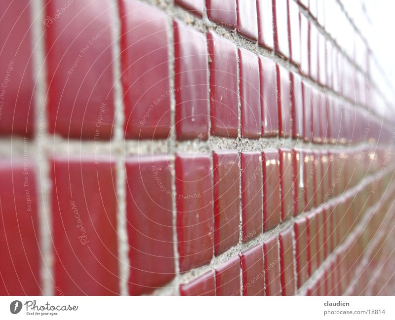 mosaic Mosaic Red Infinity Square Rectangle Seam Vanishing point Macro (Extreme close-up) Close-up Tile Line Checkered