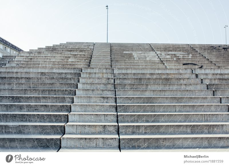 Steep and high stairs Berlin Blue Stairs Sky Concrete Town Tall Gray Colour photo Exterior shot Day Central perspective