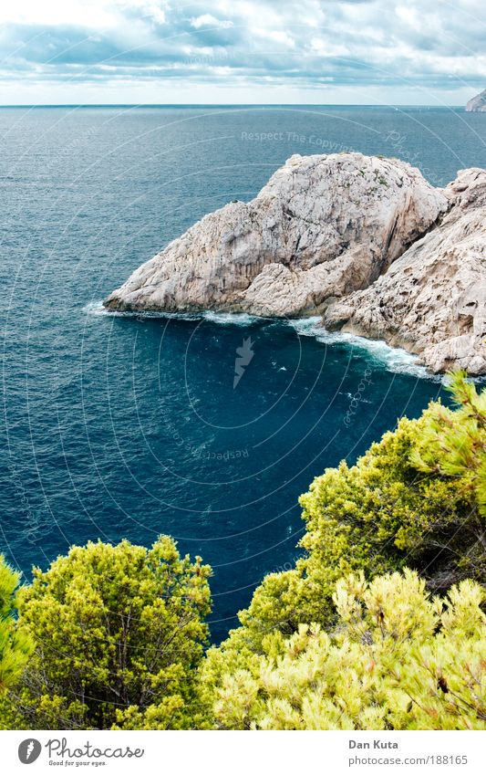 buzzer dreams Water Sky Clouds Summer Autumn Waves Coast Bay Ocean Mediterranean sea Island Majorca Cliff Observe Cap Formentor Turquoise Cloud cover Bushes